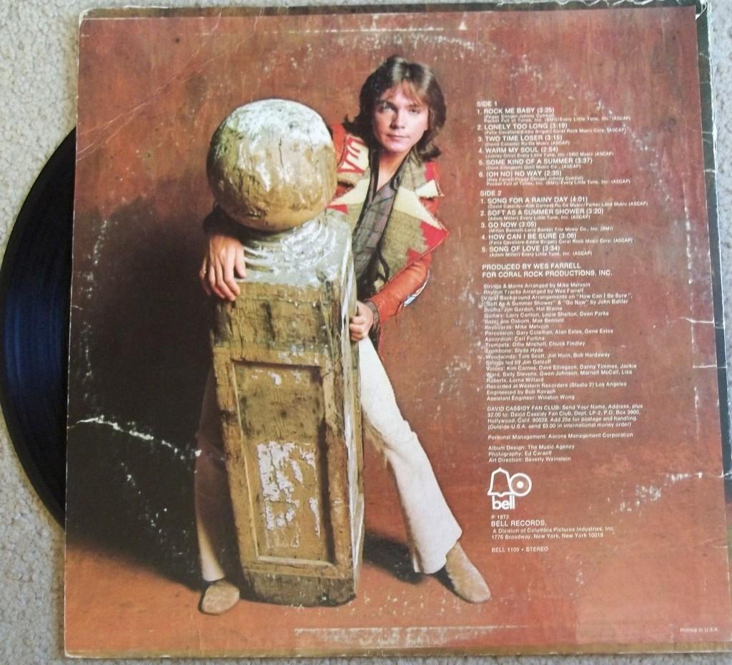 david cassidy rock me baby album back cover