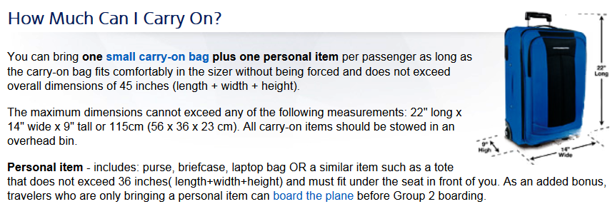 american airlines carry on baggage