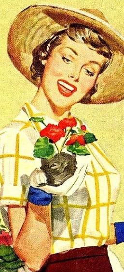 garden's glory retro garden woman vintage
