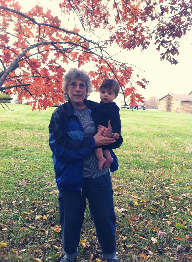 norma moslander with blake, her 11th great grandchild