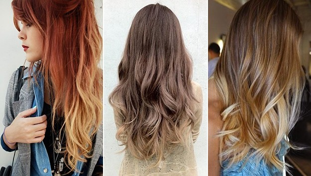 three examples of ombre hair