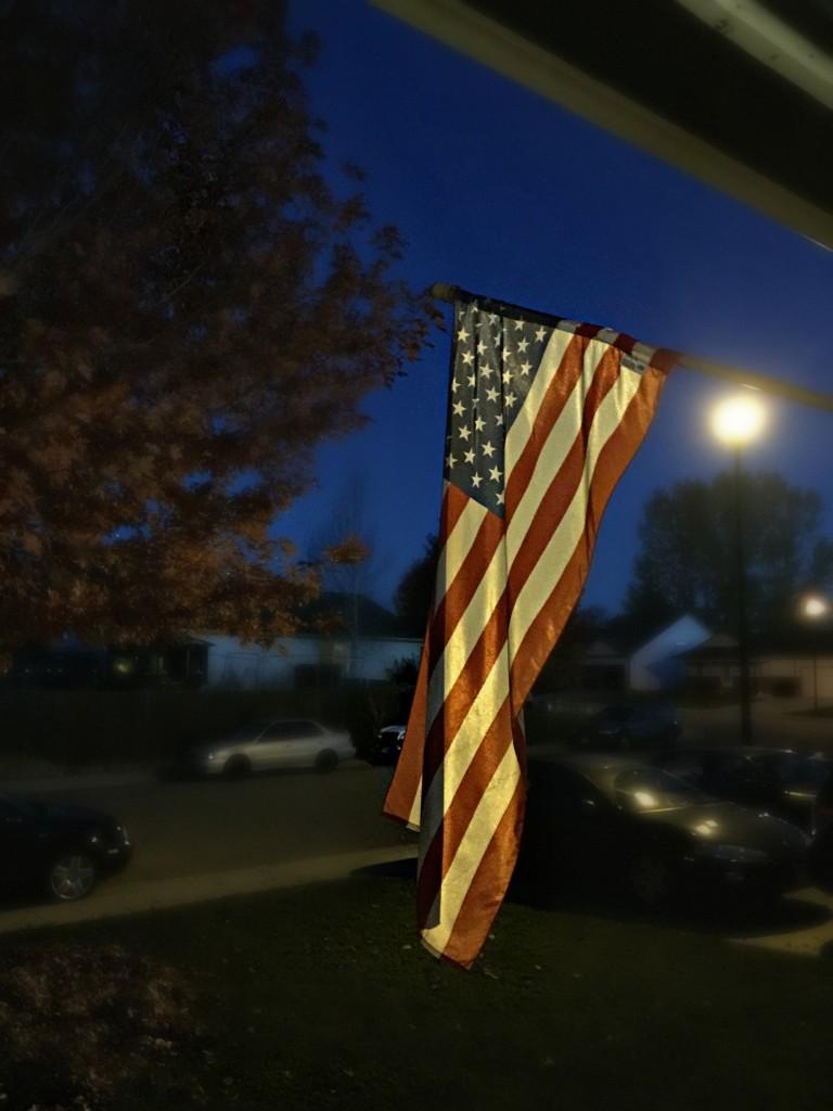 flag at blue hour