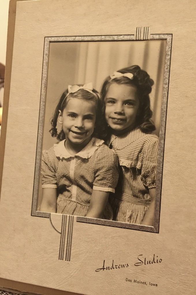My mom on the left. School days. She might be 8 or 9 in this photo.
