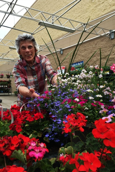 mom at garden center