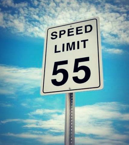 road sign 55 mph limit