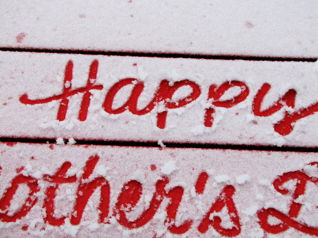 mothers day snow message on picnic table